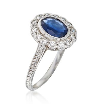 C. 2000 Vintage 1.00 Carat Sapphire and .22 ct. t.w. Diamond Ring in 14kt White Gold. Size 5.75, , default