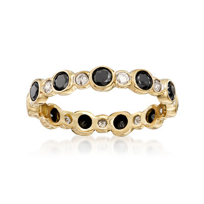 1.00 ct. t.w. Bezel-Set Black and White Diamond Eternity Band in 14kt Gold, , default