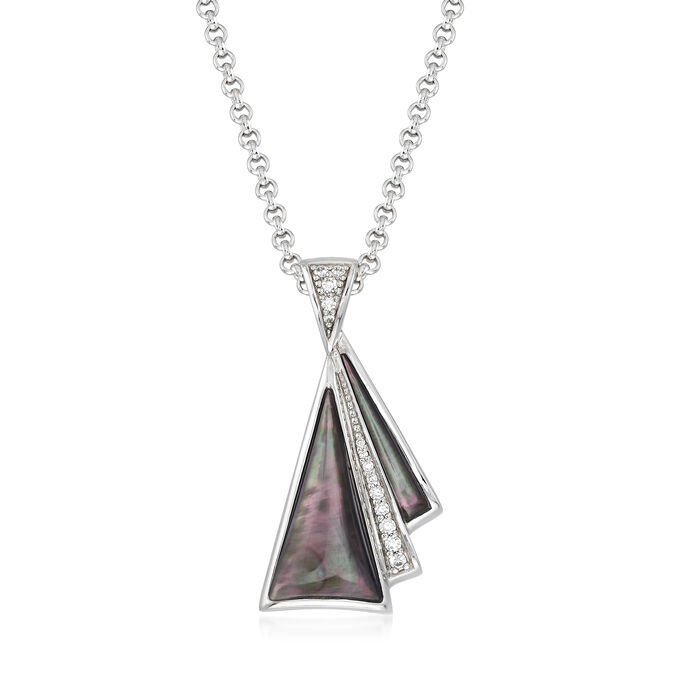 """Belle Etoile """"Empire"""" Black Enamel, Mother-Of-Pearl and .21 ct. t.w. CZ Pendant in Sterling Silver, , default"""