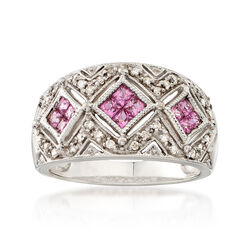 C. 1990 Vintage .50 ct. t.w. Pink Sapphire and .25 ct. t.w. Diamond Ring in 14kt White Gold, , default