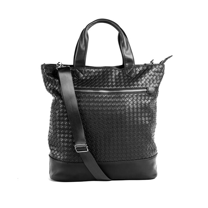 """Brouk & Co. """"Gianna"""" Faux Black Leather Tote Bag"""