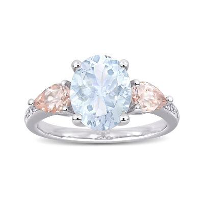2.20 Carat Aquamarine and .80 ct. t.w. Morganite Ring with Diamond Accents in Sterling Silver
