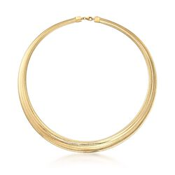 Italian 18kt Gold Over Sterling Silver Graduated Omega Necklace, , default