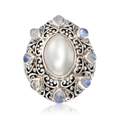14x10mm Cultured Mabe Pearl and 5x3mm Moonstone Ring in Sterling Silver, , default