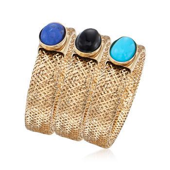 Italian Multi-Gemstone Jewelry Set: Three 14kt Yellow Gold Mesh Rings. Small (5 - 6)