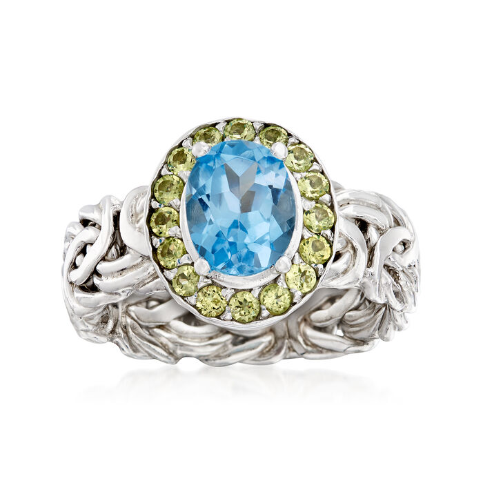 2.20 Carat Blue Topaz and .50 ct. t.w. Peridot Byzantine Ring in Sterling Silver, , default