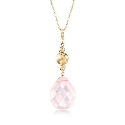 Rose Quartz Pendant Necklace in 14kt Yellow Gold, , default