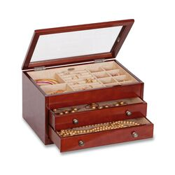 "Mele & Co. ""Haywood"" Walnut Finish Jewelry Box With Glass Top, , default"