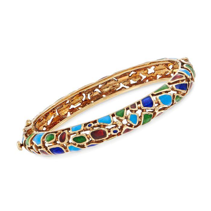 "C. 1980 Vintage Multicolored Enamel Mosaic Bangle Bracelet in 14kt Yellow Gold. 7"", , default"