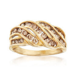 C. 1990 Vintage 1.00 ct. t.w. Chocolate-Colored Diamond Ring in 10kt Yellow Gold, , default