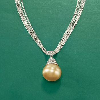 13mm Golden Cultured South Sea Pearl Necklace in Sterling Silver, , default