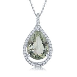 "6.75 Carat Green Amethyst and .44 ct. t.w. White Topaz Pendant Necklace in Sterling Silver. 17.25"", , default"