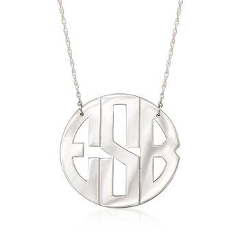 """Sterling Silver Monogram Necklace. 16"""", , default"""