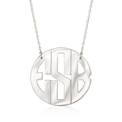 Sterling Silver Monogram Necklace, , default
