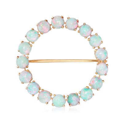 C. 1960 Vintage Opal Circle Pin in 14kt Yellow Gold, , default