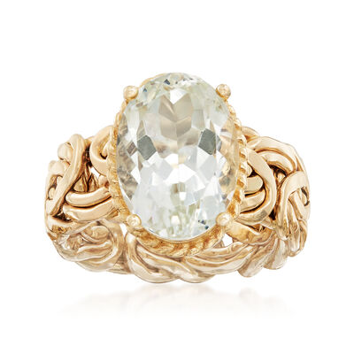 4.80 Carat Green Amethyst Byzantine Ring in 14kt Yellow Gold, , default