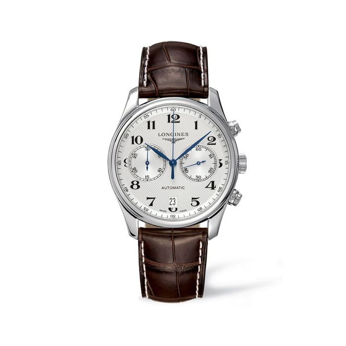 Longines Master Men's 40mm Auto Chronograph Stainless Steel Watch with Brown Alligator