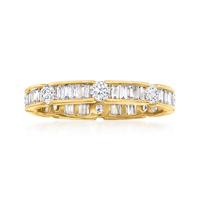1.00 ct. t.w. Round and Baguette Diamond Eternity Band in 14kt Yellow Gold
