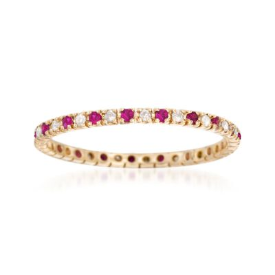 .10 ct. t.w. Ruby and .14 ct. t.w. Diamond Eternity Band Ring in 14kt Yellow Gold