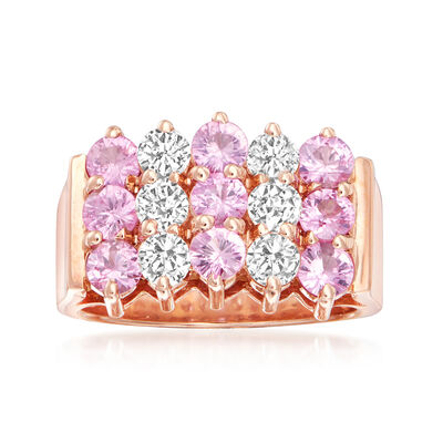 2.60 ct. t.w. Pink Sapphire and .89 ct. t.w. Diamond Three-Row Ring in 14kt Rose Gold