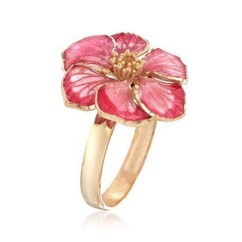 Italian Pink Enamel Flower Ring in 18kt Yellow Gold, , default