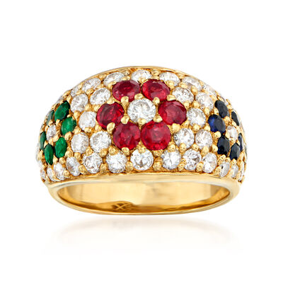 C. 1980 Vintage 1.45 ct. t.w. Diamond and 1.19 ct. t.w. Multi-Gemstone Flower Ring in 18kt Yellow Gold