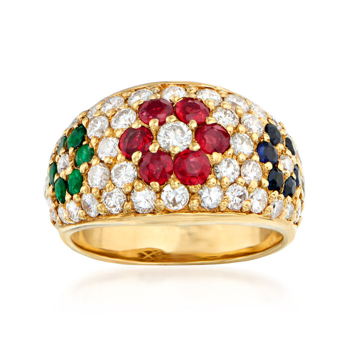 C. 1980 Vintage 1.45 ct. t.w. Diamond and 1.19 ct. t.w. Multi-Gemstone Flower Ring in 18kt Yellow Gold. Size 5.5