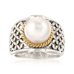 10mm Cultured Pearl Basketweave Ring in Sterling Silver and 14kt Gold Over Sterling, , default