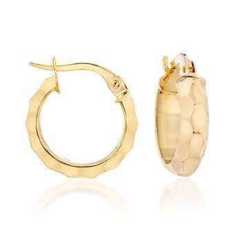 """14kt Yellow Gold Honeycomb Huggie Hoop Earrings. 5/8"""", , default"""