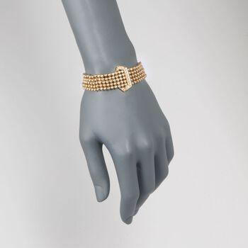 "C. 1990 Vintage 1.50 ct. t.w. Diamond Beaded Buckle Bracelet in 18kt Yellow Gold. 7"", , default"