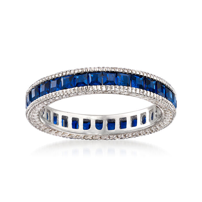 Simulated Sapphire Eternity Band in Sterling Silver, , default