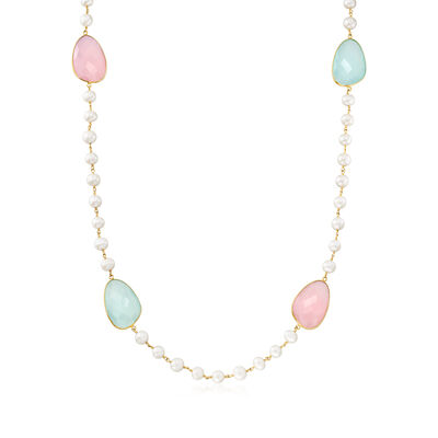 8-8.5mm Cultured Pearl and Multicolored Chalcedony Endless Necklace in 18kt Gold Over Sterling