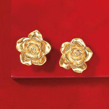 Italian 18kt Yellow Gold Rose Earrings, , default