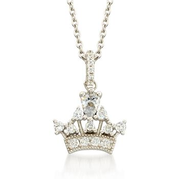 """.84 ct. t.w. CZ Tiara Pendant Necklace in Sterling Silver. 18"""", , default"""