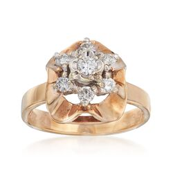 C. 1970 Vintage .40 ct. t.w. Diamond Floral Ring in 9kt Gold. Size 6.5, , default