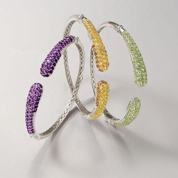 "8.10 ct. t.w. Pave Amethyst Cuff Bracelet in Sterling Silver. 8"", , default"