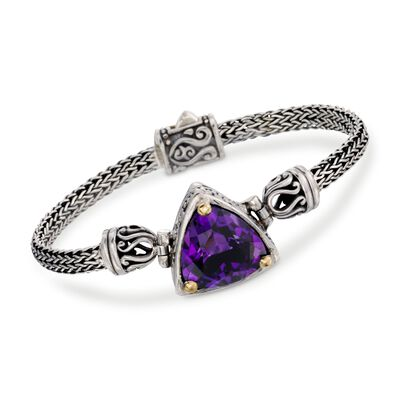 Balinese 12.00 Carat Amethyst Bracelet in Sterling Silver with 18kt Gold, , default