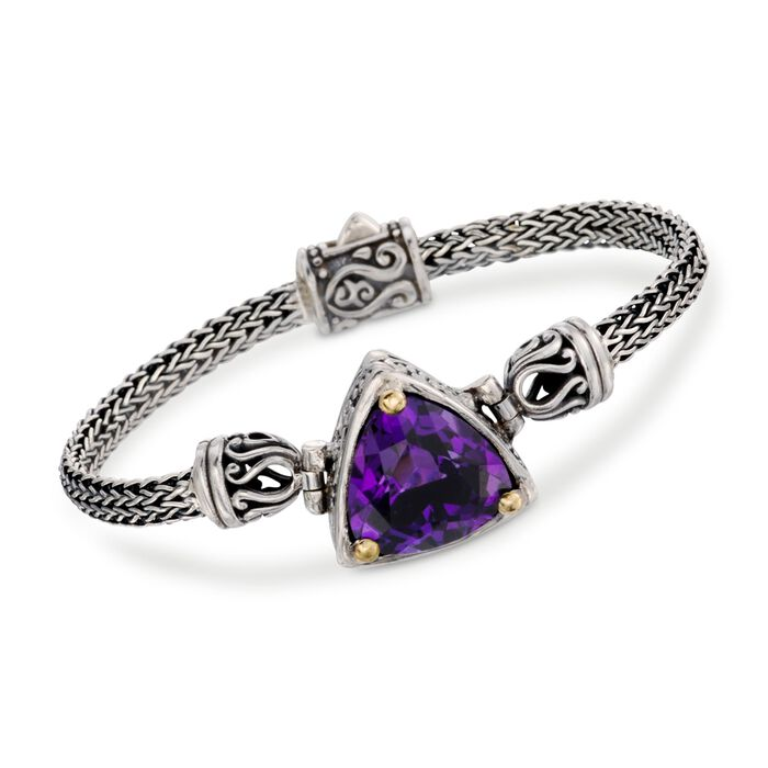 "Balinese 12.00 Carat Amethyst Bracelet in Sterling Silver with 18kt Gold. 8"", , default"