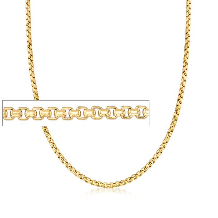 Men's 3.5mm 14kt Yellow Gold Box Chain Necklace, , default
