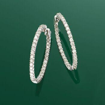 """3.00 ct. t.w. Diamond Inside-Outside Hoop Earrings in 14kt White Gold. 1 3/8"""", , default"""