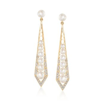 3.5-6mm Cultured Pearl and .10 ct. t.w. Diamond Geometric Drop Earrings in 18kt Gold Over Sterling, , default