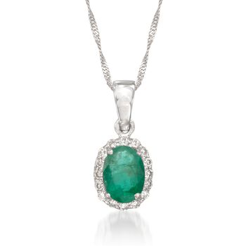 """.75 Carat Emerald Pendant Necklace With Diamonds in 14kt White Gold. 16"""", , default"""