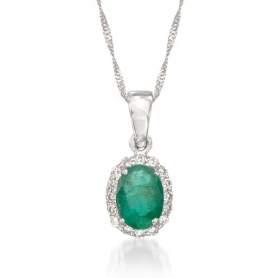 .75 Carat Emerald Pendant Necklace With Diamonds in 14kt White Gold, , default