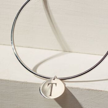 Sterling Silver Single Initial Disc Charm Bangle Bracelet, , default