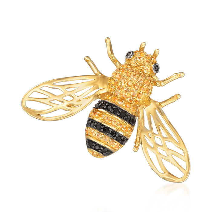 1.30 ct. t.w. Citrine and .40 ct. t.w. Black Spinel Bee Pin in 18kt Gold Over Sterling