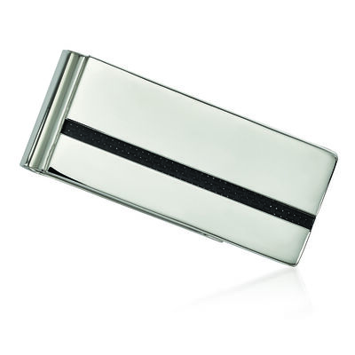 Men's Stainless Steel and Black Carbon Fiber Money Clip