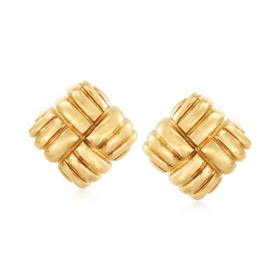 Italian 18kt Yellow Gold Square Woven-Knot Clip-On Earrings, , default