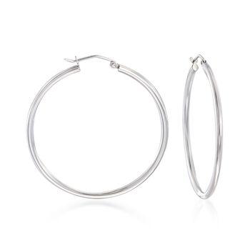 """2mm Sterling Silver Hoop Earrings. 1 5/8"""", , default"""