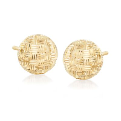 Italian 18kt Yellow Gold Diamond-Cut Dome Stud Earrings, , default