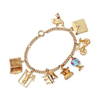 "C. 1970 Vintage 14kt Yellow Gold Charm Bracelet with Mother-Of-Pearl and Blue Glass. 7"", , default"